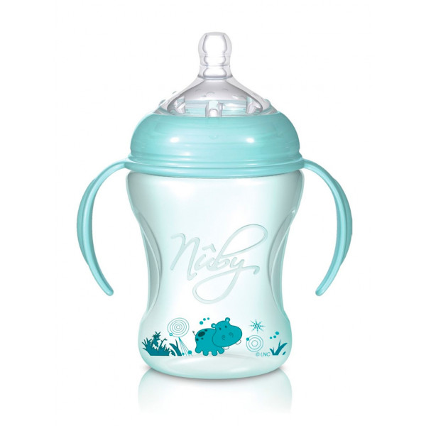 Nûby Biberón con asas 240ml Natural Nurser STEP 2 Verde